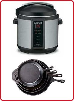 Electric Pressure Cooker, Cast Iron Skillets
